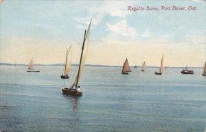 PORT DOVER, Ontario, Canada, PU-1908; Regatta Scene, Sail Boats