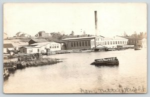 Oconto Bay Wisconsin~Power House~Water Works~Homes on Hill~1905 RPPC