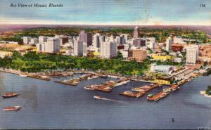 Florida Miami Aerial View 1952