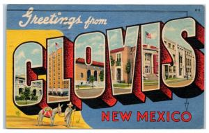 1954 Greetings from Clovis, NM LARGE LETTER Postcard