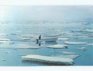 Pre-1980 MAN IN BOAT BY ICE BREAKING APART Saint Anthony Newfoundland NL E7661