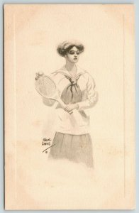Frank Crere~Sailor Girl Plays Tennis~Lovely Lady with Racket & Ball~1910 Sepia