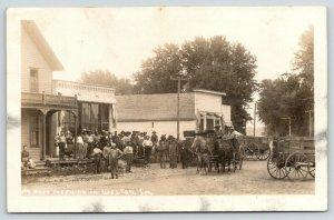 Welton Iowa~Busy Morning on Main Street~Hard Working Men~Farm Wagons~1910 RPPC