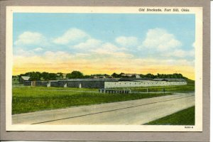 Postcard OK Fort Sill Old Stockade 1529L