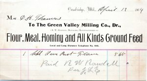 Cambridge Maryland Vtg Billhead Letterhead 1904 GREEN VALLEY MILLING CO. Farming