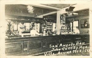 1929 Villa Acuna Mexico San Angelo Bar John Crosby Manager RPPC Real Photo