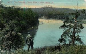 Cedar Rapids IA Man with Satchel Looks at Palisades @ Cedar River~1911 Postcard