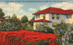 Hedge of Flame Vine & Spanish Type Home, Orlando, FL, 1942 Linen Postcard f9526