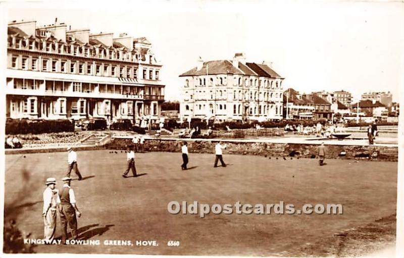 Old Vintage Lawn Bowling Postcard Post Card Kingsway Bowling Greens Hove Unused