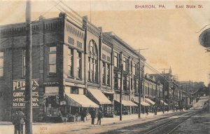 East State Street Sharon Pennsylvania 1910c postcard