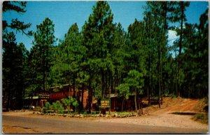 1950s Ruidoso, New Mexico Postcard DAN DEE CABINS Road View Roadside Unused