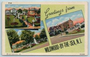 Postcard NJ Wildwood By The Sea Multiview Greetings c1940s Curt Teich U7