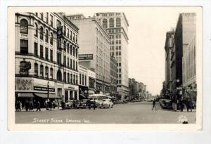 #36  WA Spokane 1940's  STREET SCENE RPPC