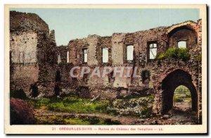 Postcard Ancient Ruins Geoux Les Bains Du Chateau Des Templiers