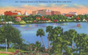 Business Section St Petersburg FL Florida Mirror Lake Drive Linen Postcard D21