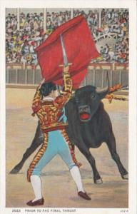 Bull Fight Matador and Bull Prior To The Final Thrust Curteich