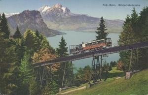 switzerland, Vitznau-Rigi-Bahn Mountain Rack Railway, Schnurtobelbrücke (1910s)