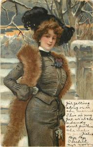 c1907 Chromograph Postcard; Fashionable Lady in Winter Suit, Plumed Hat & Fur