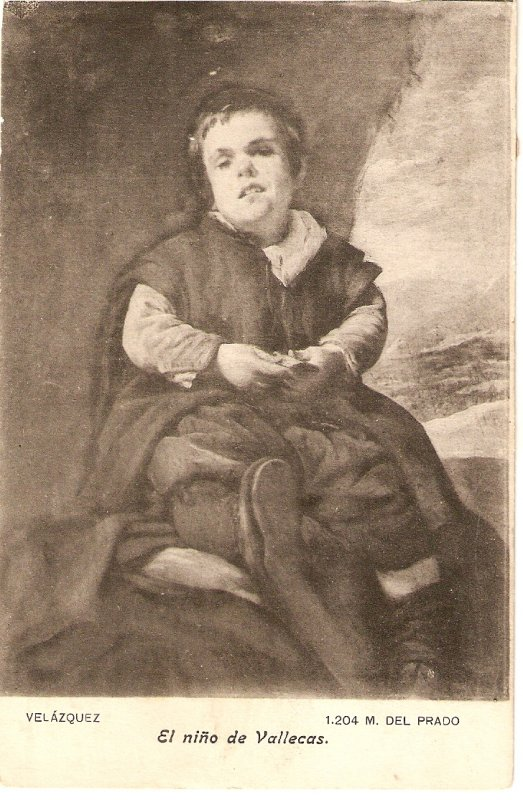 Velazquez. El niño de Vallecas Fine art, painting, vintage Spanish postcard