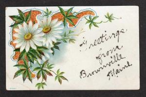ME Vintage Greetings from BROWNVILLE MAINE Postcard Daisies Flowers Glitter PC