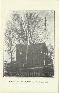 Black and White Saint Lutheran Church Middletown, Pennsylvania - Very Early 1900