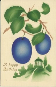 Birthday Postcard Purple Plums & Gazebo Stenciled Airbrushed Art Greeting Card