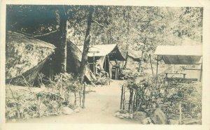 C-1910 Camping Outdoor Life Tents Bird man sign RPPC Photo Postcard 6008