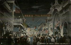 Coney Island NY The Bowery Night Scene Red Devil River c1915 Postcard