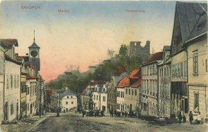 Graupen MARKT - ROSENBURG Czech Republic street view c. 1913 RARE postcard