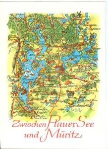 Germany, Zwischen Plauer See und Muritz, Map, unused Postcard