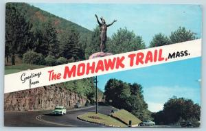 Postcard MA Banner Dual View Greetings From Mohawk Trail Mass Vintage O17