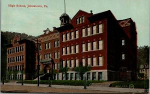 Johnstown Pennsylvania~High School~Young Trees in Cages~1908 Postcard