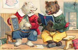 Raphael Tuck Little Bears Series 118 Kept at School Embossed Postcard
