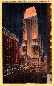 Ohio Cincinnati Fountain Square and Carew Tower At Night Curteich