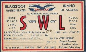 BLACKFOOT, Idaho , 1938 ; QSL postcard