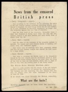 3rd Reich Germany Propaganda Rocket Leaflet V1 V2 Censored British Press S 86528