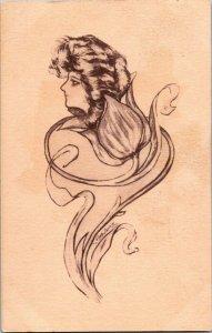 Woman flower Cobb Shin artist signed art nouveau vintage postcard