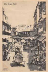 India Delhi, The Bazar, cart, carriages, animated street, commerce