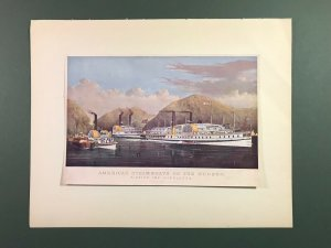 Currier & Ives Original Litho Print Plate II American Steam Boats on The Hudson