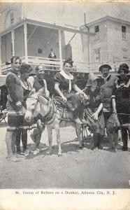 Atlantic City NJ Bathing Beauty Rides a Donkey~Man Watches From Balcony B&W 1908