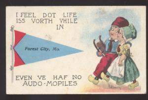 FOREST CITY MISSOURI DUTCH CHILDREN VINTAGE POSTCARD MO. BLUE PENNANT