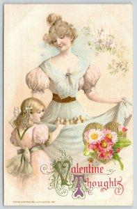 Valentine~Lovely Victorian Lady~Girl Peek~Chicks in Skirt~Gold Heart~John Winsch