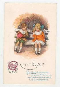 Girls Sitting On A Bench, Poem On The Bottom, Greetings, 1900-1910s
