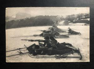 Mint France RPPC Real Picture Postcard Machine guns on battery skis