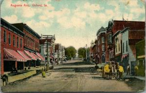 Oxford IA Sidewalk Work Being Done~Striped Awnings on Augusta Ave~1910~Postcard