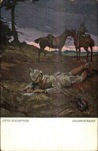 Otto Flechtner German Soldier Helmet Writing Letter Feldpostbrief Postcard