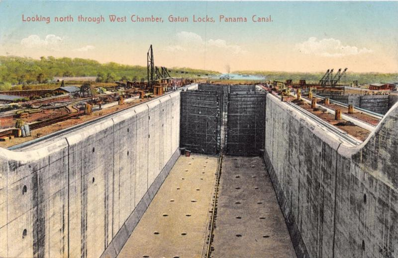 PANAMA CANAL NORTH THROUGH WEST CHAMBER~GATUN LOCKS~L L MADURO #5173 POSTCARD