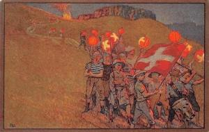 Switzerland Patriotic Flag Group Drums Music Band Freiburg Roten-Kreuz 1912