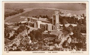 Dorset; Priory Church, Christchurch From The Air PPC By Aero Pictorial, c 1940's