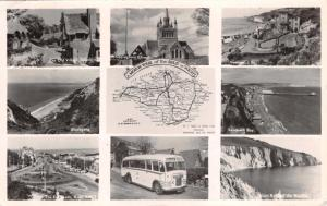 THE ISLE OF WIGHT UK MOTOR TOUR~MULTI IMAGE-MAP-COACH-PHOTO POSTCARD 1950s